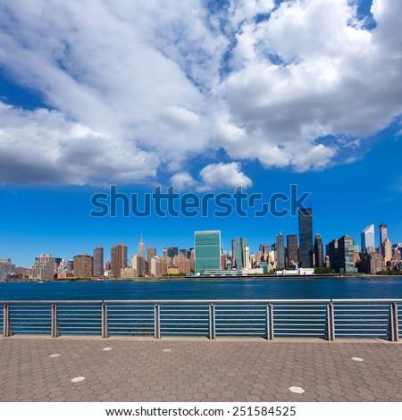 Manhattan New York sunny skyline East River sunshine NYC USA #251584525