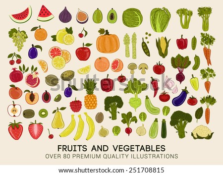 Mega collection of premium quality vector illustrations of fruits and vegetables Royalty-Free Stock Photo #251708815