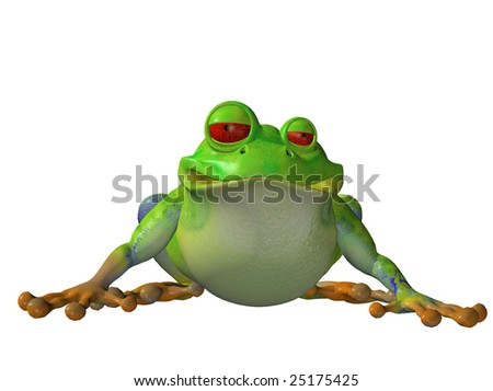 Cartoon frog sitting down isolated on white background #25175425