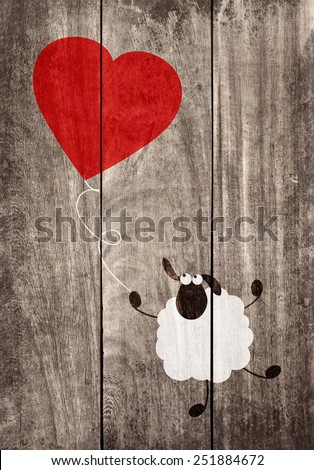 Love cartoon concept on wooden background