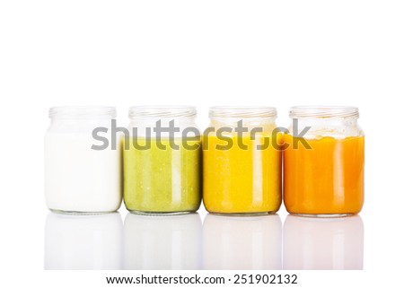 Four jars with baby food made of vegetables #251902132