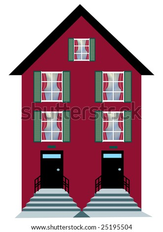 illustration of city apartment building on white