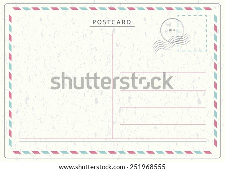 Travel postcard vector in air mail style with paper texture and rubber stamps  Royalty-Free Stock Photo #251968555