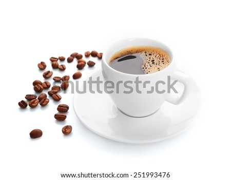 Cup of coffee isolated on white #251993476