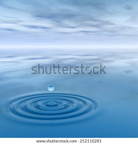 Concept or conceptual blue liquid drop falling in water splash background with ripples and waves, metaphor to nature, natural, summer, spa, drink, cool, business, environment, rain or health design #252110281