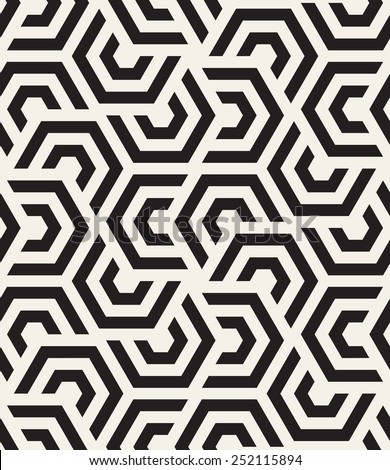Vector seamless pattern. Modern stylish texture. Repeating geometric tiles with hexagonal elements Royalty-Free Stock Photo #252115894