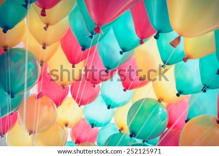 colorful balloons with happy celebration party background Royalty-Free Stock Photo #252125971