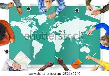 World Global Business Cartography Globalization International Concept #252162940