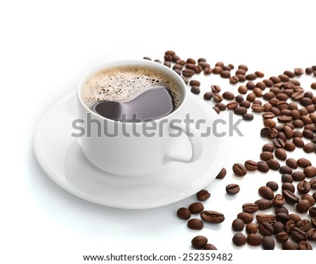 Cup of coffee isolated on white #252359482
