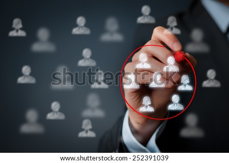 Marketing segmentation, customers care, customer relationship management (CRM) and team building concepts. Royalty-Free Stock Photo #252391039