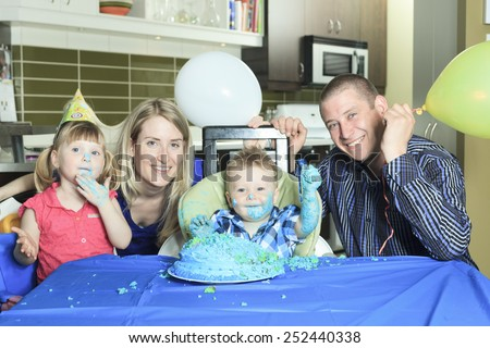 A Happy one Year Birthday with a smash the cake