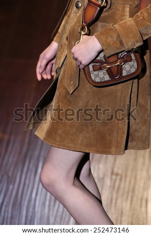 MILAN, ITALY - SEPTEMBER 17: A model walks the runway (detail) during the Gucci show as a part of Milan Fashion Week Womenswear SS 2015 on September 17, 2014 in Milan, Italy. #252473146