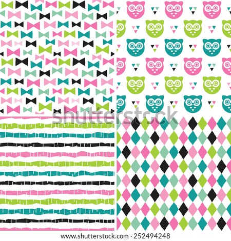 Vector set of cute seamless backgrounds in pink and green. Sweet hipster backgrounds for girls with owls, ribbon bows, rough stripes and rough diamonds.