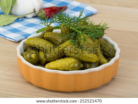 Pickled small cucumber with dill and spices #252521470