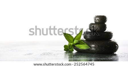 Still life of spa stones on wet glossy surface isolated on white #252564745