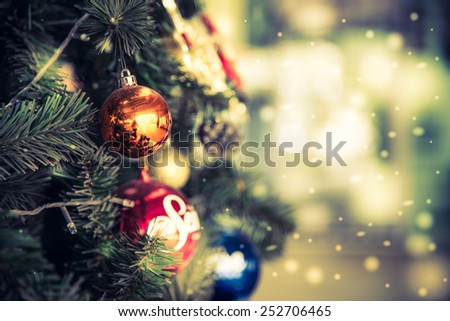 Abstract Snow Christmas ball background - vintage effect style pictures