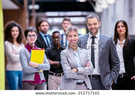 young multi ethnic business people group walking standing and top view #252757165