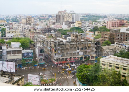 HYDERABAD, INDIA - SEPTEMBER 16, 2008: View on a crossroads and buildings in the center of Hyderabad, India #252764425