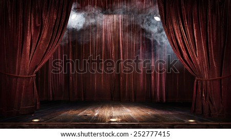 Magic theater stage red curtains Show Spotlight Royalty-Free Stock Photo #252777415