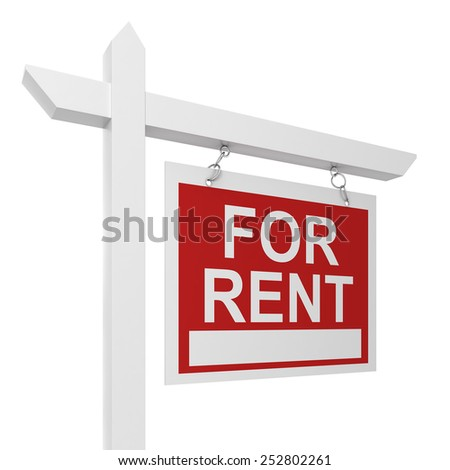 House for rent sign. 3d illustration isolated on white background #252802261
