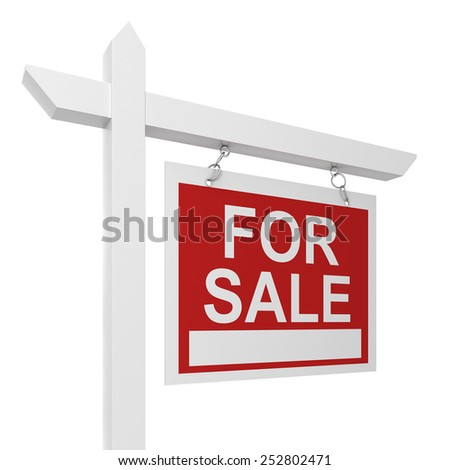 House for sale sign. 3d illustration isolated on white background  #252802471