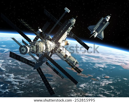 Space Station And Space Shuttle. 3D Scene. Elements of this image furnished by NASA. #252815995