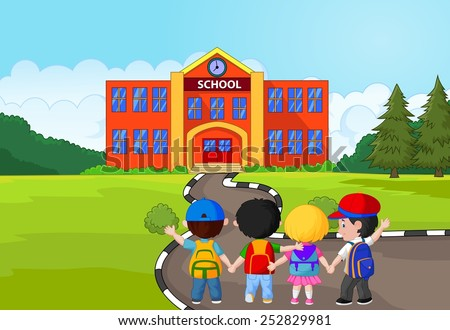 Little kids are going to school