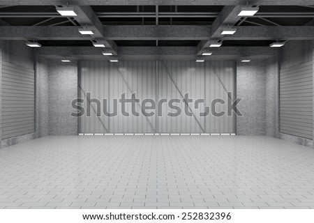 Modern Storehouse 3D Interior with Closed Doors. 3D Rendering #252832396