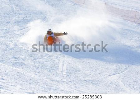 ALMATY, KAZAKHSTAN - FEB 14: MERCUR SLOPE STYLE, February 14, 2009 in Almaty, Kazakhstan. Competitor Marbek Ushlepkin #25285303