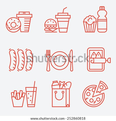 Food icons, thin line style, flat design Royalty-Free Stock Photo #252860818