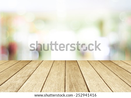 Perspective wood and blurred store with bokeh background #252941416