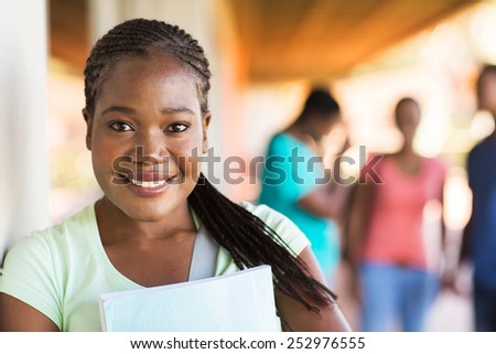 close up portrait of african university student on campus #252976555