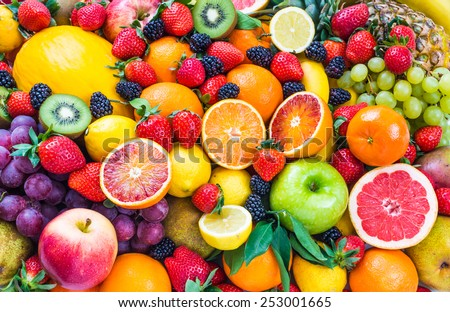 Fresh assorted fruits background.Love fruits, healthy food. #253001665