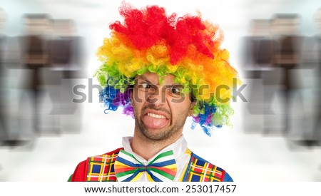 silly clown making a face, studio picture
