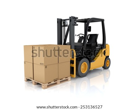 Forklift truck with boxes on pallet. Cargo. 3d render on white background #253136527