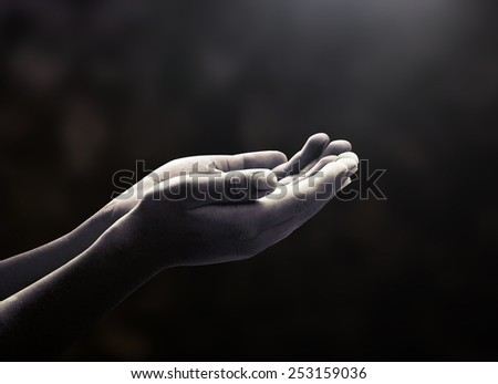 Hardships concept: Black and white poverty people open two empty hands with palms up. #253159036