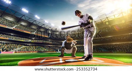 two baseball player in action #253352734