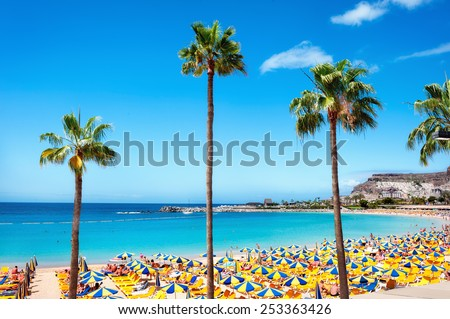 Beautiful beach of Playa de Amadores near Puerto Rico town, Gran Canaria, Canary Islands. Spain Royalty-Free Stock Photo #253363426