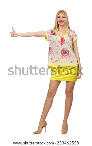 Woman giving thumbs up isolated on white #253462558