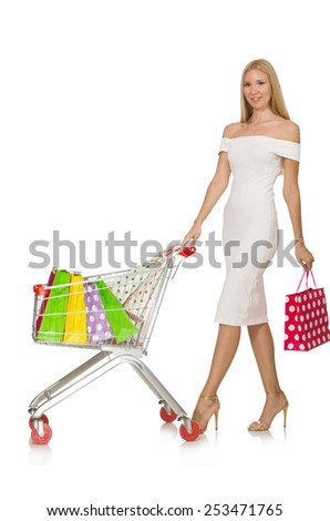 Woman in shopping concept isolated on white #253471765