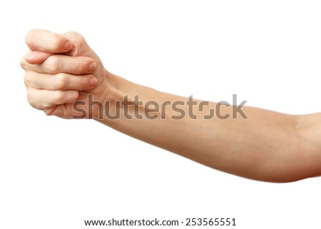 Fico gesture of a hand. Cock a snook.  Arm making fig, a gesture of contempt. Isolated on white background. Alpha.  #253565551