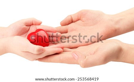 Heart in child and mother hands isolated on white #253568419