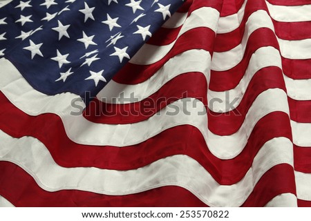 Closeup of ruffled American flag #253570822
