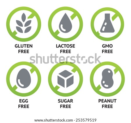 Set of vector icons of common allergens (gluten, lactose, eggs, peanut), sugar free and GMO free labels. Round stickers with food intolerance symbols for product packaging Royalty-Free Stock Photo #253579519