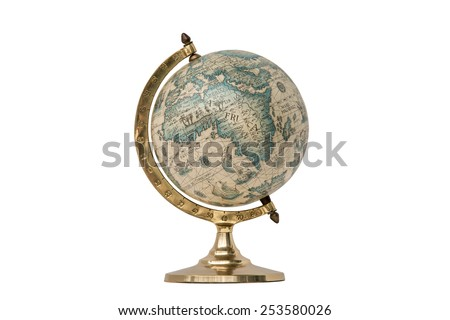 Old Style World Globe - Antique world globe isolated on white background.  Studio close up.  Showing Africa and some of Middle East.