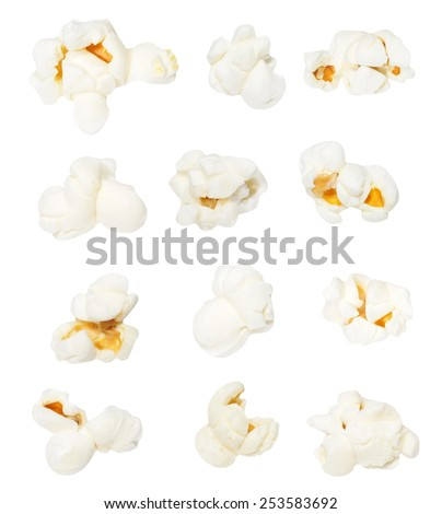 Macro popcorn isolated on white background, with clipping path, (high resolution) #253583692