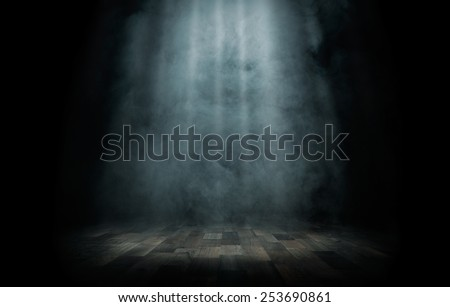 Close up of light beam at the empty stage with copy space Royalty-Free Stock Photo #253690861