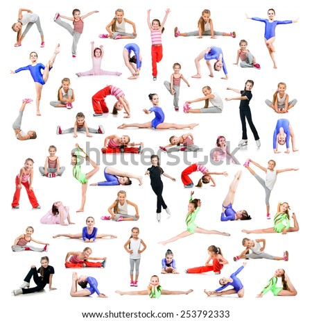 collage of beautiful little girl gymnasts  perform exercises on a white background