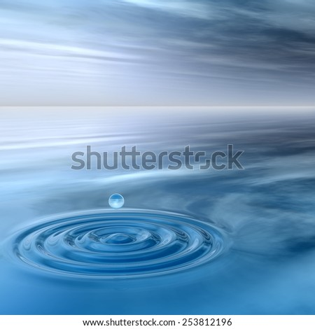 Concept or conceptual blue liquid drop falling in water splash background with ripples and waves, metaphor to nature, natural, summer, spa, drink, cool, business, environment, rain or health design #253812196