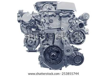 Car engine. Concept of modern car engine isolated on white background. #253855744